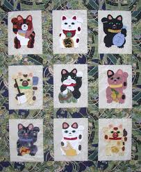 Maneki Neko (beckoning cat) applique quilt pattern by Su-Sun ... & Maneki Neko (beckoning cat) applique quilt pattern by Su-Sun Designs as seen Adamdwight.com