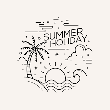 Summer Holiday Flat Style With Line Art Vector Illustration Line