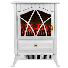 freestanding electric fireplace stove heater in white with vintage