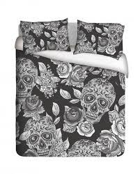 sugar skull roses duvet cover set