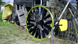 simple home made wind turbine from bike wheel in the wind