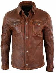 details about men s shirt jacket brown real soft genuine waxed leather shirt by lizaz leather