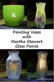 painted vases with martha stewart glass paints