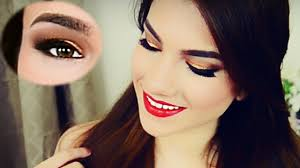 quick holiday glam makeup tutorial gold eyes red lips
