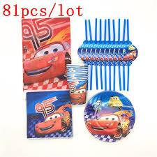 Lightning Mcqueen Birthday Party Us 12 42 27 Off 81pcs Lot Disney Cars Theme Design Kids Birthday Party Decorations Lightning Mcqueen Cups Plastic Drinking Straws Supplies In