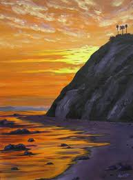 golden evening at hendry s beach acrylic on canvas by anne west