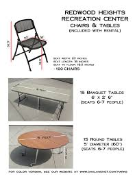 redwood heights recreation center tables chairs pictures