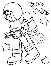 Small Picture A Kid Wearing an Astronaut Suit with Rocket Booster Coloring Page