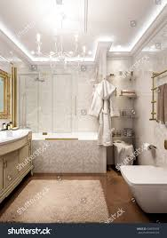 bathroom classic design. Luxurious Bathroom In Classic Style Interior Design With White Mosaic And Big Chandeliers. 3d Render