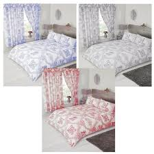 details about single double king super blue grey red toile de jouy vintage duvet set curtains