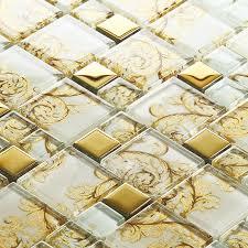 white crystal glass mosaic tile gold stainless steel tile kitchen backsplash designs bathroom wall tile showers