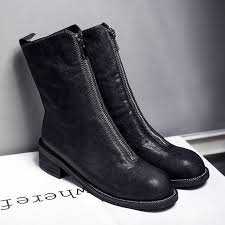 womens autumn flats ankle boots brand designer front zip genuine leather short booties motorcycle punk boots