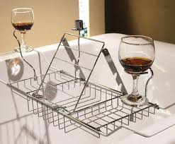 metal bathroom bathtub reading book rack shower tub tray wine glass holders hang