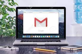 Varna, Bulgaria - May 31, 2015: Google Gmail Logo On The Apple MacBook Pro  Display That Is On Office Desk Workplace. Gmail Is A Free E-mail Service  Provided By Google. Stock Photo,
