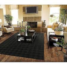 solid black area rug carpet 5 x 7 size rugs floor decor modern large living room
