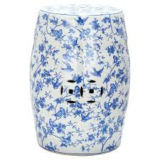 blue and white ceramic garden seat ceramic garden stool with a classic blue and white motif garden material suitable for indoor and blue and white