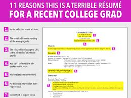 Bold Idea College Grad Resume 12 Terrible Resume For A Recent