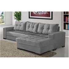 sofá 5 lugares chaise dijon suede cinza