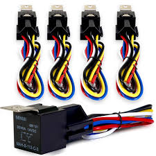 radio wiring harnesses amazon com genssi 30 40 amp relay and wire harness spdt 12v 40a pack of 5
