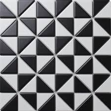 black and white tile pattern.  Pattern TR2MWMWB_3 Matte Black White Windmill Pattern Triangle Mosaic Tiles To Black And White Tile Pattern E