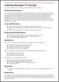 Certified Safety Professional Resume Catering Manager Sample Resume