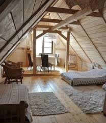 attic in house. rustic and simple wood white color bedroom design love the light colored woods in attic room house