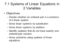 7 1 systems of linear equations in 2 variables objectives decide whether an ordered pair is