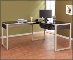 L Shaped Modern Desk Modern L Shaped Desk With Silver Frame Black Glass Desk Home