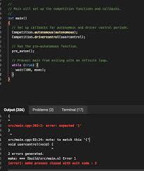 The Help Text V5 Coding Help Int Main Error Vexcode V5 Text Tech