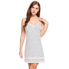 Ekouaer Polka Dot Sleepshirts <b>Nightgown Women Sexy Spaghetti</b> ...