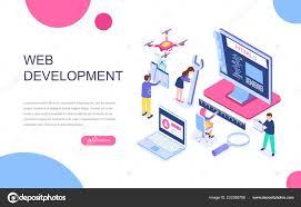Banner In Web Design Modern Flat Design Isometric Concept Web Development Banner