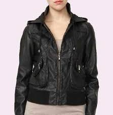 home women sheep skin hooded biker leather jacket