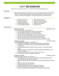 Warehouse Worker Resume Objective Free Resume Templates 2018