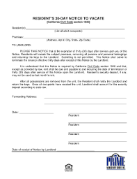 california 30 day eviction notice form sample letter 30 day notice to vacate
