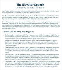 30 Sec Elevator Speech 30 Second Pitch Template