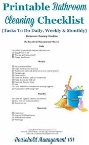 Bathroom Cleaning Schedule Mesmerizing Bathroom Cleaning Checklist List For Cleaning The Bathroom Daily