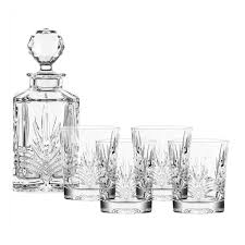 belleek 5 piece galway crystal kells decanter set
