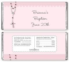 Personalized Candy Bar Wrapper Template Rosary Beads Pink Personalized Baptism Christening Candy Bar Wrappers