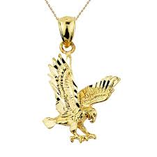 solid yellow gold flying eagle pendant necklace best of
