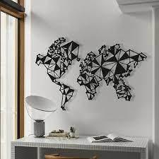 world map metal wall art black