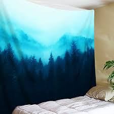 forest on fog mountain tapestry wall hanging mysterious tree tapestry landscape nature scenery tapestry art for