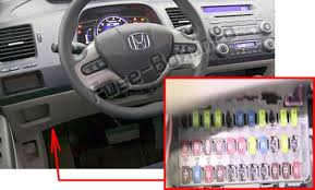 honda civic hybrid 2006 2011 < fuse box diagram the interior fuse box is underneath the steering column the location of the fuses in the passenger compartment honda civic hybrid 2006
