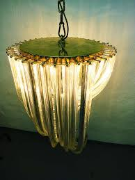 l murano crystal glass curved chandelier venini style