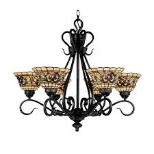 titan lighting tiffany buckingham 6 light vintage antique chandelier with tiffany glass shades
