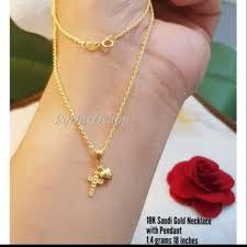 18karat saudi gold cross necklace able