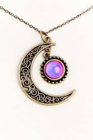 Mood Necklace Chart Gold Crescent Moon Pendant Mood Necklace
