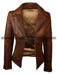 womens quilted brown leather jacket