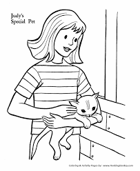 Pet Cat Coloring Pages Girls Special Pet Cat Coloring Pages And