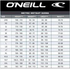 Oneill Kids Size Chart 61 Curious Oneill Wetsuit Sizing Chart Women