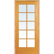 right handed unfinished pine wood clear glass 10 lite true divided single prehung interior door